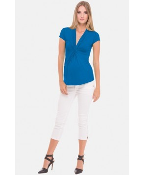 Olian Gathered V-Neck Maternity Top