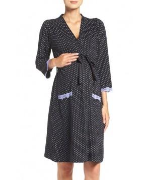 Belabumbum 'Dottie' Cotton Maternity Robe Black
