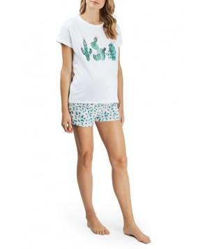 Topshop Cactus Heart Maternity Pajamas- White