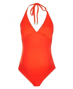 Topshop Solid Halter One-Piece Maternity Swimsuit- Coral