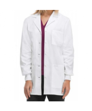 Cherokee 3 inch knit cuff lab coat with Certainty - White