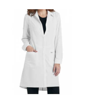 Infinity by Cherokee 4 inch button front lab coat with Certainty - White