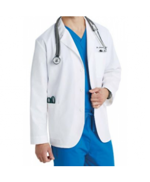 META 3 inch mens consultation lab coat - White