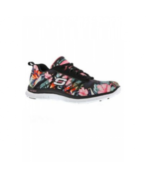 Skechers Flex Appeal Floral Bloom athletic shoe - black floral