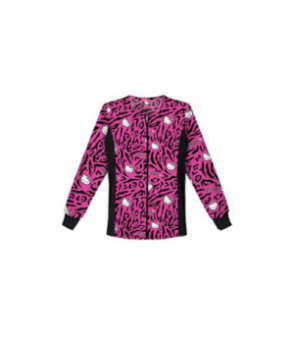 Cherokee Tooniforms Hello Kitty Wild print scrub jacket - Hello Kitty Wild