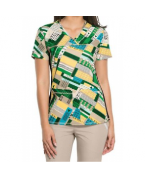Cherokee Flexibles Pattern Pieces v-neck print scrub top - Pattern Pieces