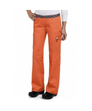 HeartSoul Soul Mate flip waist cargo scrub pant - Orange Pop - PXL
