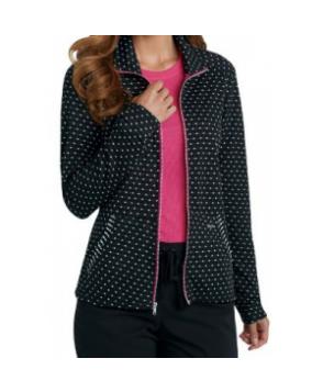 KD Jessie zip front scrub jacket - Black/ White