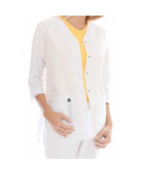 Landau uniforms three quarter sleeve scrub jacket - White