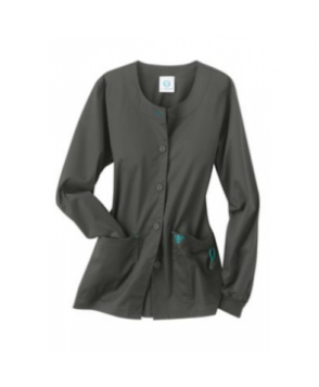Med Couture warm-up scrub jacket - Charcoal/aruba blue