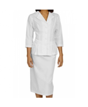 Med Couture Abigail 3/4 Sleeve Embroidered Collar Dress Suit - White