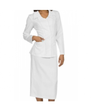 Med Couture Christy Double Collar Cross Skirt Suit - White