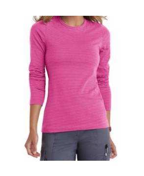 Beyond Scrubs micro stripe long sleeve underscrub tee - Pearl Pink/ Primrose