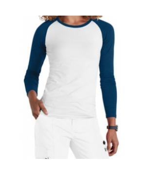 Beyond Scrubs  raglan long sleeve underscrub tee - White/navy