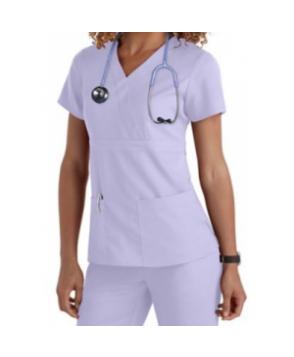 Greys Anatomy 3-pocket mock-wrap scrub top ilac