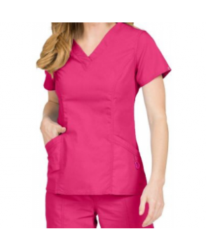 Med Couture Paige v-neck scrub top - Pomegranate