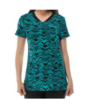 HeartSoul After Your Heart teal print scrub top - After Your Heart Teal