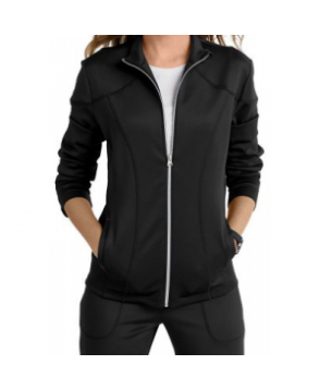 Smitten Bliss Cranked knit zip-front track scrub jacket - Black