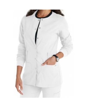 KD Hayley 4-pocket warm up scrub jacket - White