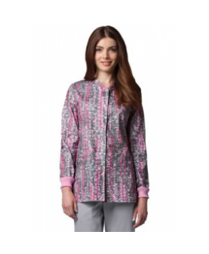 Greys Anatomy Have A Heart snap front print scrub jacket - Have A Heart