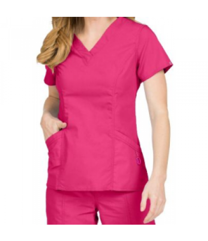 Med Couture Paige v-neck scrub top - Pomegranate - XS