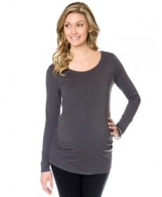BumpStart Long-Sleeve Scoop-Neck Ruched Maternity Tee 2-Pack