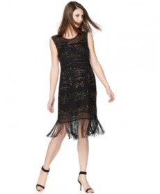 A Pea in the Pod Maternity Beaded Fringed Dress