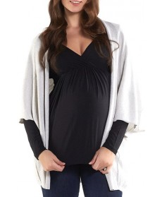 Tart Maternity 'Harlyn' Cotton & Cashmere Maternity Wrap Cardigan, /Large - Grey