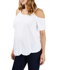 Topshop Embroidered Cold Shoulder Maternity Top- White
