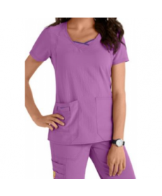 WonderWink Four-Stretch Curve-Centric fashion scrub top - Iris/Electric Violet