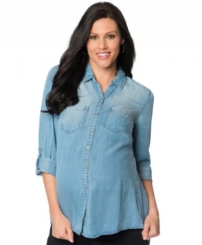 Wendy Bellissimo Maternity Tab-Sleeve Chambray Shirt