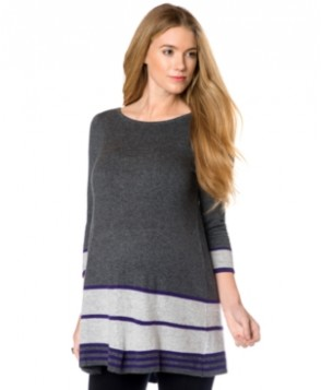 Design History Maternity Striped Peplum Tunic Sweater