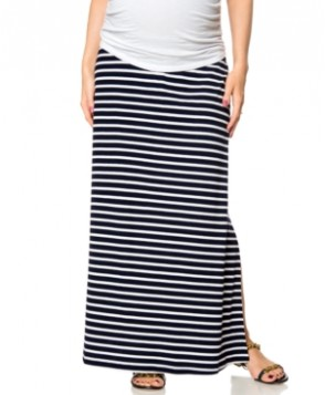 A Pea in the Pod Maternity Striped Crossover Maxi Skirt