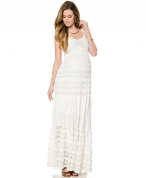 A Pea In The Pod Maternity Lace Tiered Maxi Dress