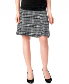 Motherhood Maternity Secret Fit Belly Plaid Fit-And-Flare Skirt