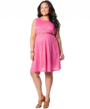 Motherhood Maternity Plus-Size Crochet-Knit Belt Dress