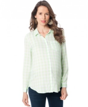 A Pea In The Pod Maternity Checked Button-Front Blouse