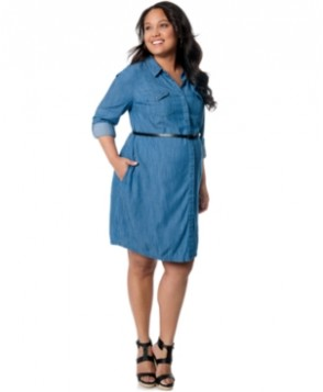 Motherhood Maternity Chambray Convertible-Sleeve Shirtdress