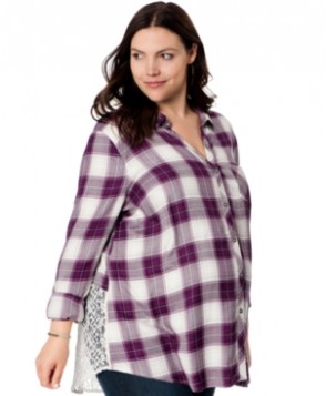 Wendy Bellissimo Maternity Plus Size Lace-Inset Plaid Shirt