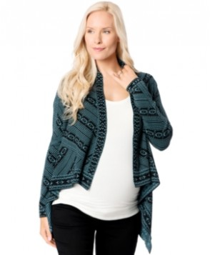 Wendy Bellissimo Maternity Printed Open-Front Cardigan