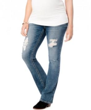 Wallflower Maternity Ripped Bootcut Jeans, Medium Wash
