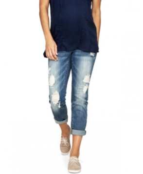 Luxe Essentials Maternity Ripped Boyfriend Jeans, Vintage Medium Wash