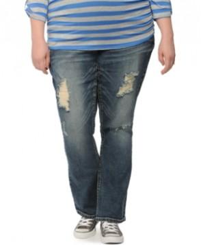 Wallflower Maternity Plus Size Distressed Bootcut Jeans, Medium Wash