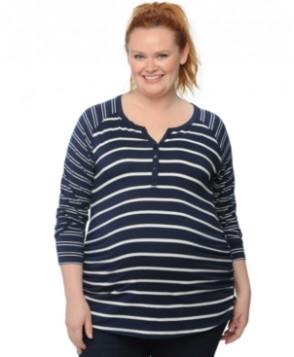 Motherhood Maternity Plus Size Striped Henley Top