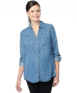 Wendy Bellissimo Maternity Printed Denim Split-Back Top