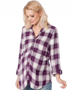Wendy Bellissimo Maternity Plaid Lace-Panel Shirt