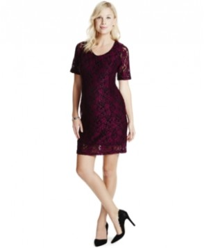 Jessica Simpson Maternity Lace Elbow-Sleeve Dress