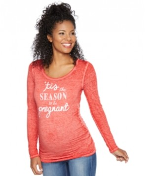 Motherhood Maternity Long-Sleeve Holiday Graphic Tee