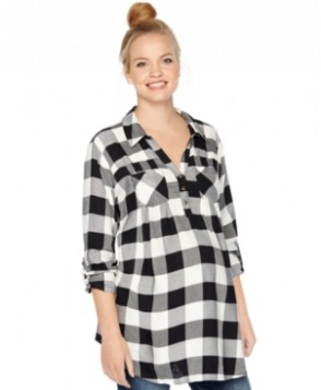 Motherhood Maternity Plaid Roll-Sleeve Shirt
