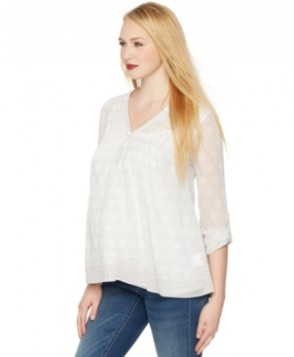 A Pea in the Pod Maternity Blouse, Convertible Sleeve Pleated